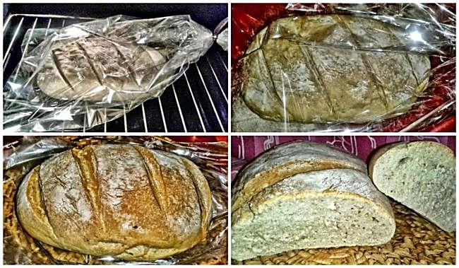Preparación de pan casero en bolsa de asar