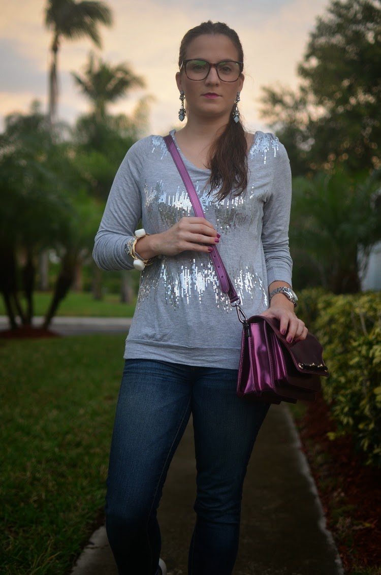 Jeans - sequin sweater - metallic bag - Emma & Sophia - glasses