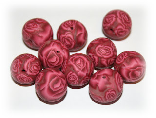 Millefiori Rose Cane Beads from Polymer Clay