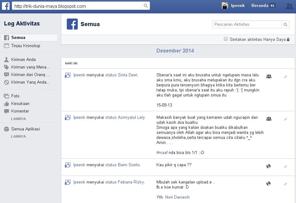 Cara Melihat Semua Aktifitas di Facebook