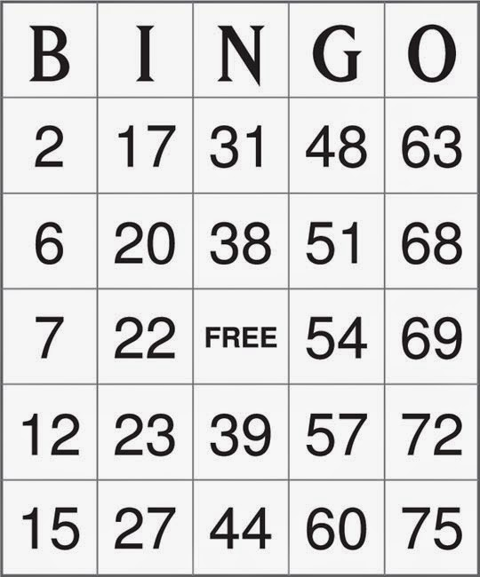 Wild image inside number bingo printable