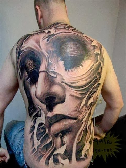 Tattoo Train Hd Girl Face Drawn As Tattoo On Back Of Man Showing