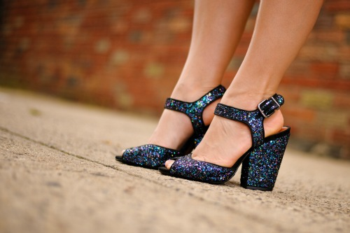 Schutz Blue Glitter Wedge Shoes