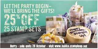 Shop this amazing sale at www.bekka.stampinup.net and get 25% off 25 Stamp Sets until 28 October 2013