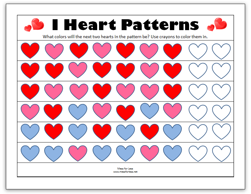 Valentine's Math - Kindergarten Worksheets | Mess For Less