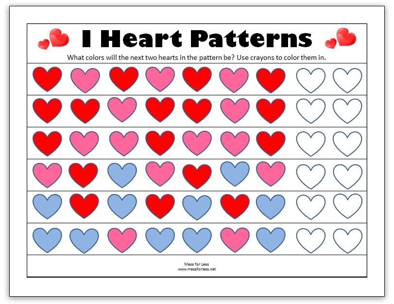 Valentine Printable Worksheets Patterns  Patterns Kid