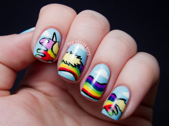 Chalkboard Nails: Lady Rainicorn Adventure Time Nail Art
