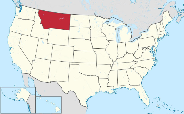 An image of the state Montana highlighted on a map of the United States.