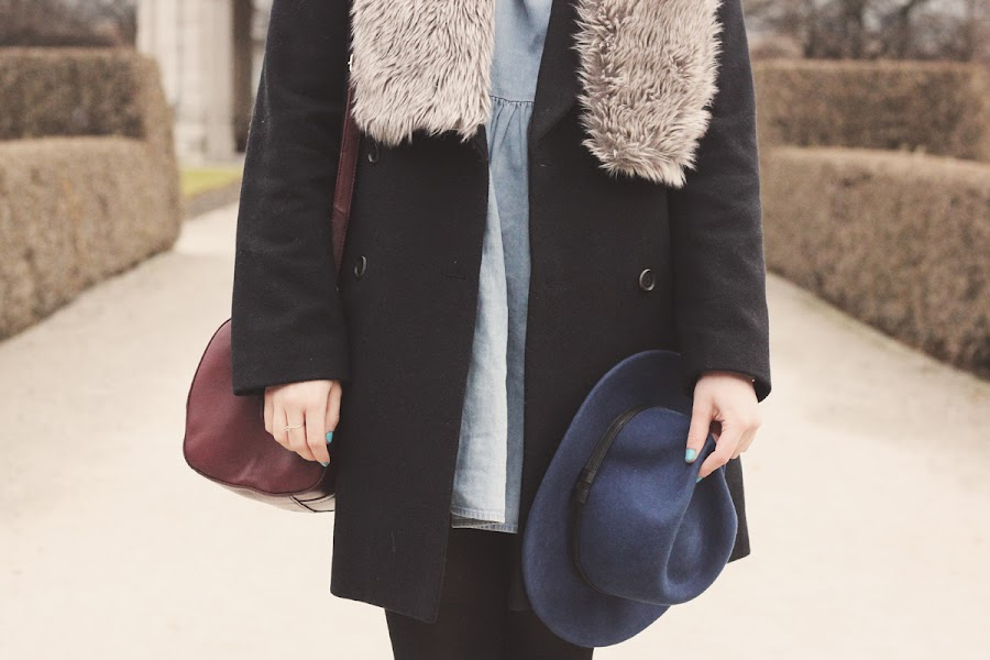 navy blue winter layering