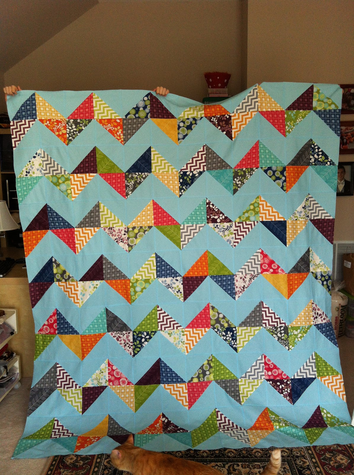 Ramblings of a quilter: Chevron Quilt from Layer Cake