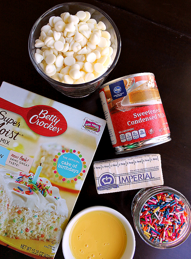 Gooey Sprinkle Bars Ingredients