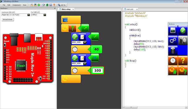 Minibloq Beta supports Maple 32 Bit boards