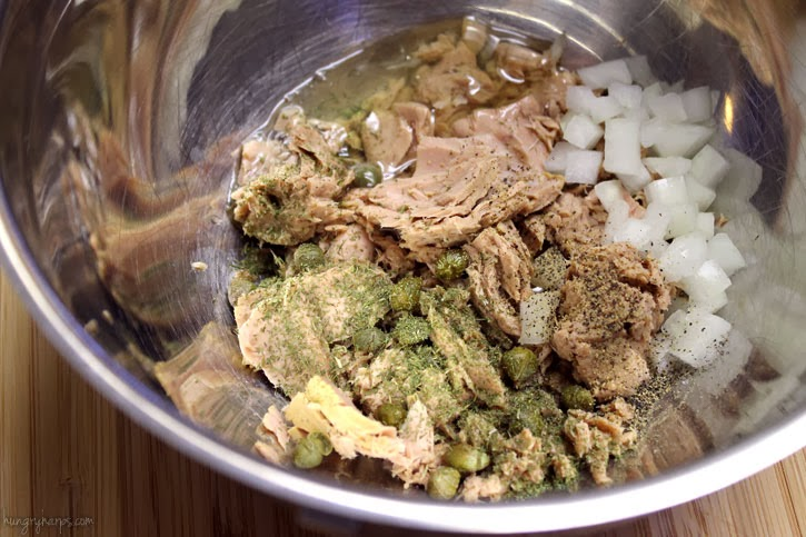 Ingredient mixture for Open-Faced Tuna Burgers #OceanNaturals #shop