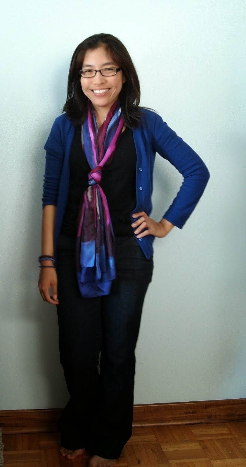 silk scarf cobalt cardigan black tee jeans teacher style