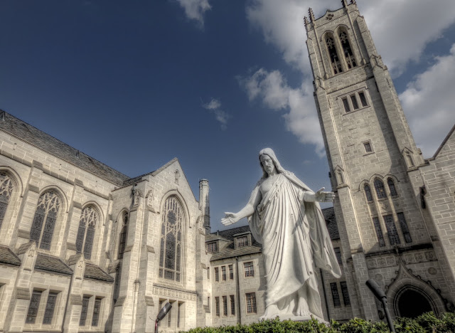 St. Paul's United Methodist Church with Jesus Statue - HDR - Houston, Texas