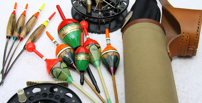 Cork Bodied Pike Floats, Leather and Canvas Tube, Cork Crow Quill Avons
