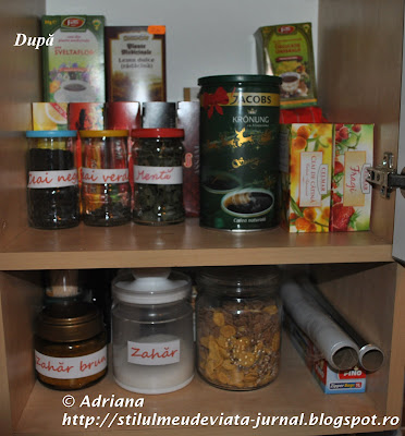 organizare dulap ceaiuri