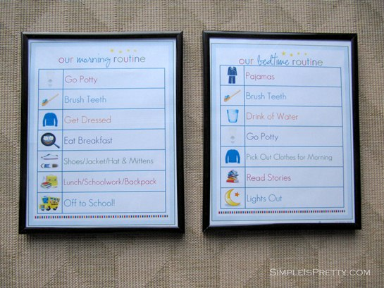 simpleispretty.com: IHeart Organizing Bedtime and Morning Printables framed