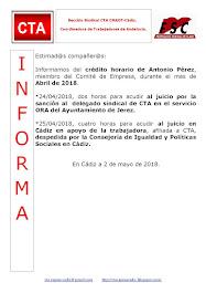 C.T.A. INFORMA CRÉDITO HORARIO ANTONIO PÉREZ, ABRIL 2018