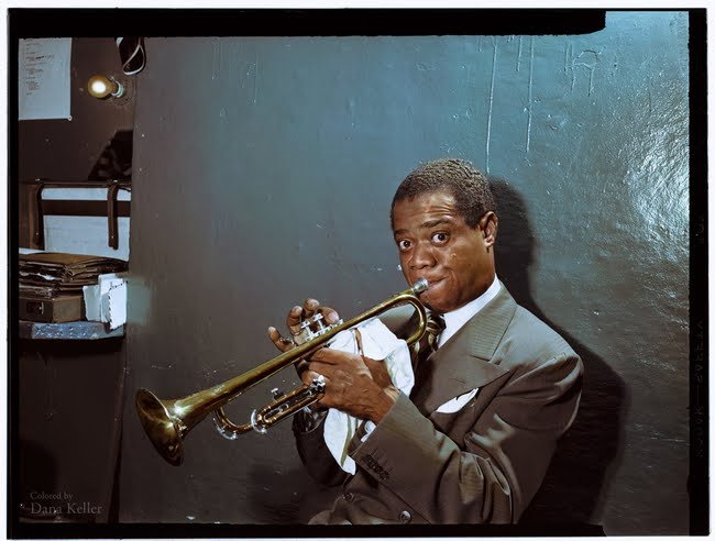 Louis Armstrong practicing backstage in 1946.