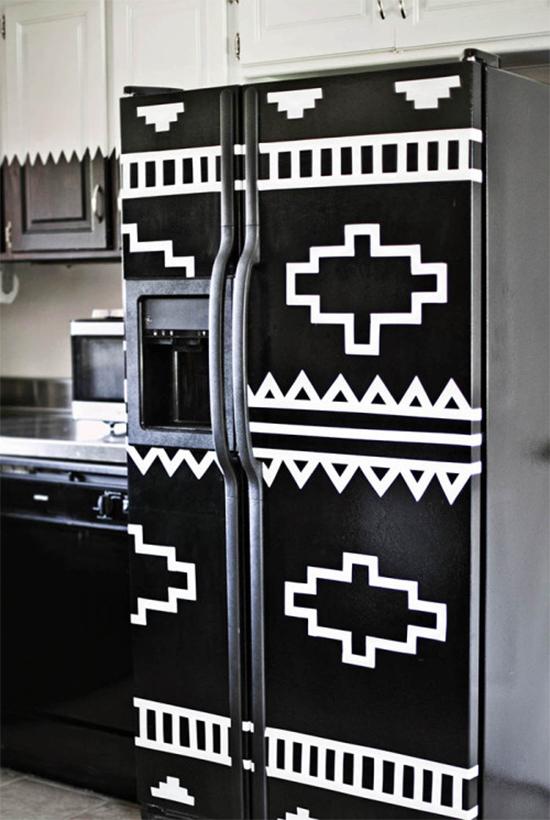 geladeira com desenho tribal, refrigerator vynil, vinil de geladeira, geladeira colorida