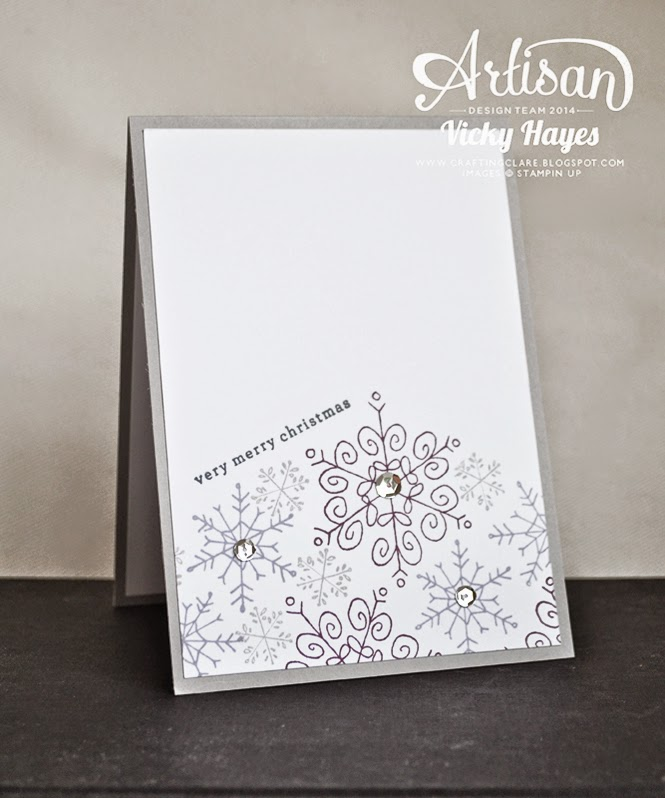 UK Stampin' Up demonstrator Vicky Hayes shows how to stamp snowflakes and greeting at an angle with Endless Wishes