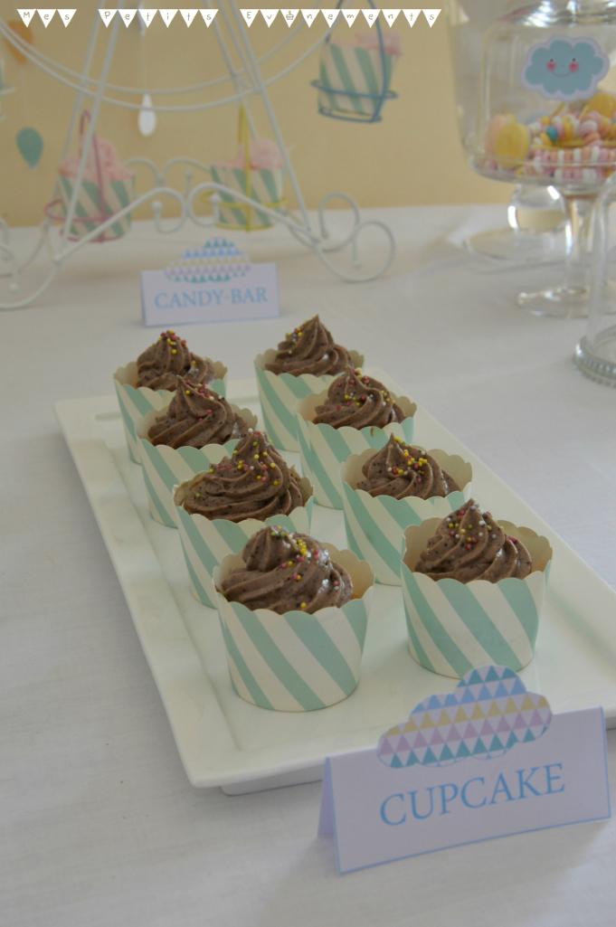 cupcakes, chocolat, etiquette, candy bar