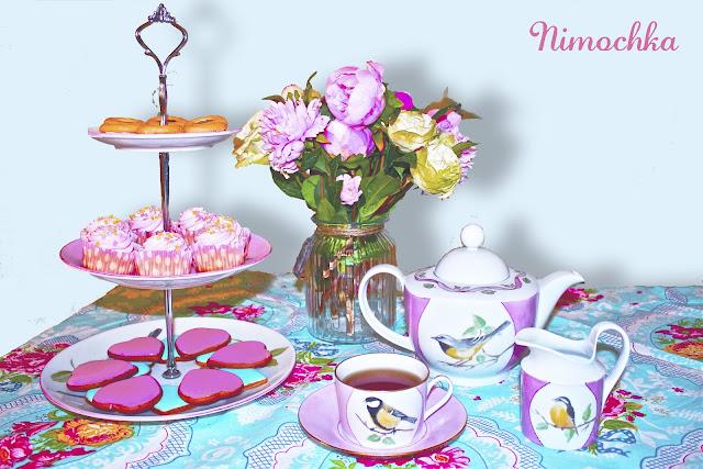 tea party, three tiered platter, china set, tea set, porcelain, china, hand painted, birds