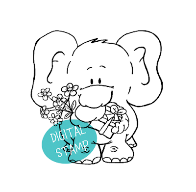 Elephant and Gifts Digital Stamp