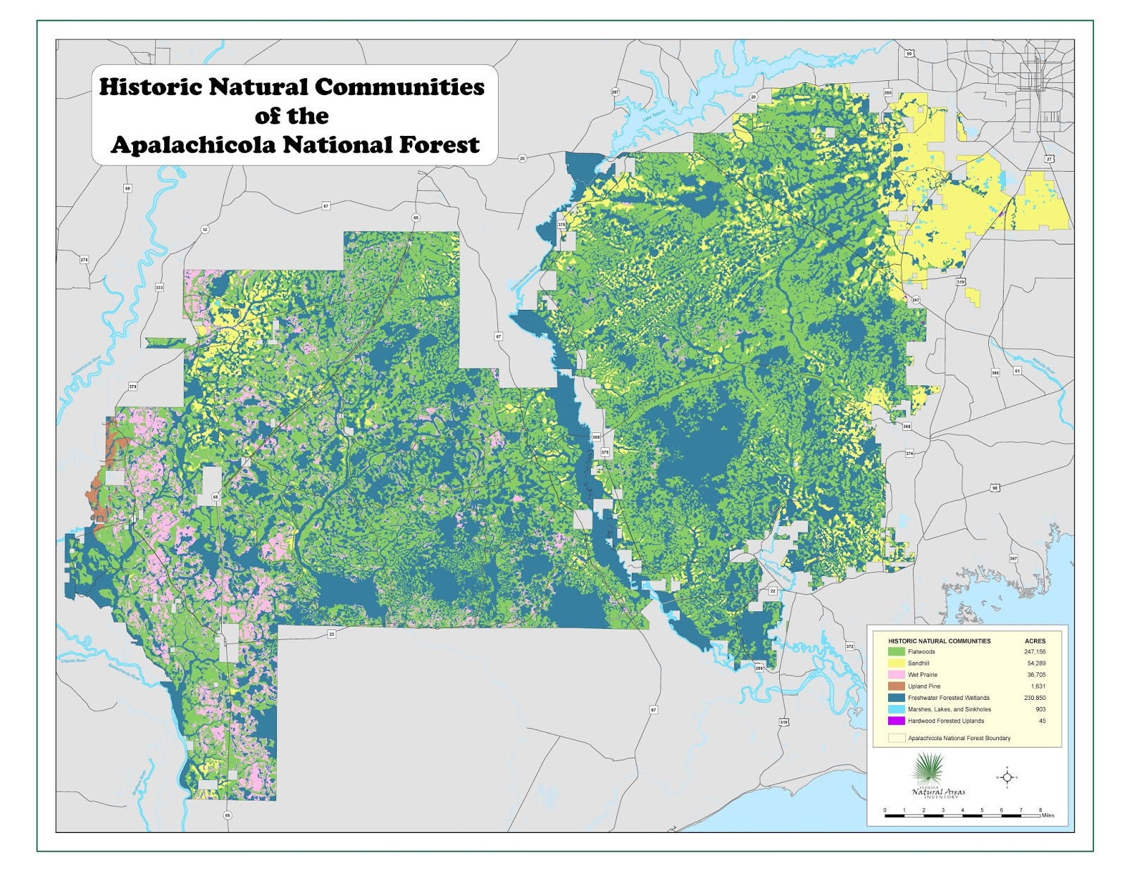 map of the month historical natural communities of the apalachicola national forest