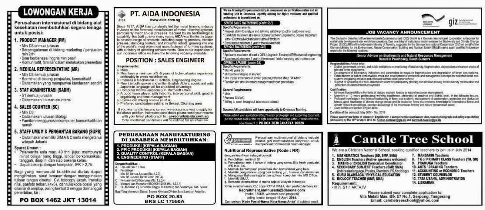lowongan koran kompas sabtu 5 April 2014