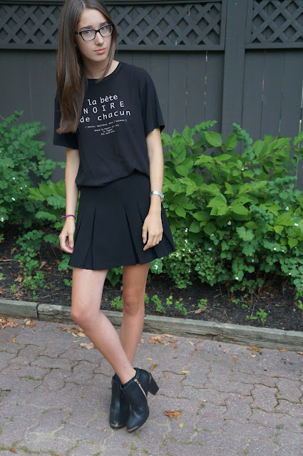 Black Zara top, Topshop skirt, Material Girl Boots