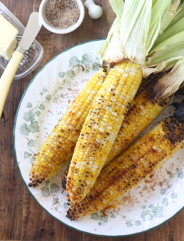 Grilled Corn with Sichuan Pepper Sea Salt & Smoked Serrano Chili by SeasonWithSpice.com