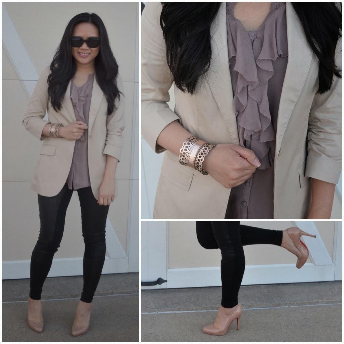 Express blazer, jacket, khaki, tan, beige, nude, minus the leather leggings, scuba leggings