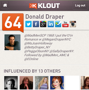 Don Draper has @Klout