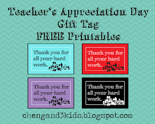 Teacher's Appreciation Day Free Printable by Cheng and 3 Kids