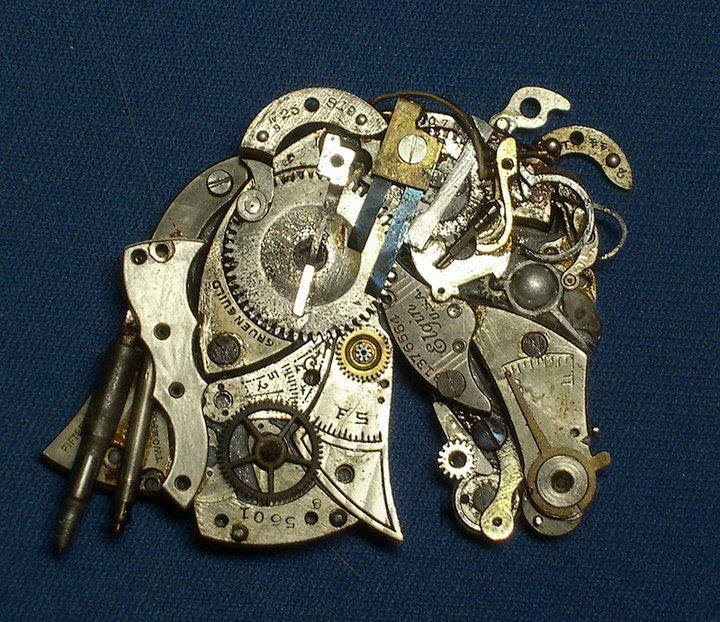 07-Horse-Head-Recycled-Watch-Sculptures-Steampunk-Susan-Beatrice-All-Natural-Arts-www-designstack-co