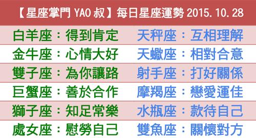 【星座掌門YAO叔】每日星座運勢2015.10.28