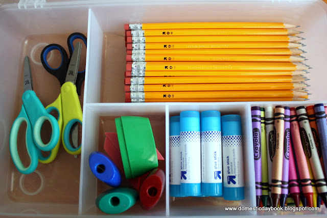 Organized school supplies