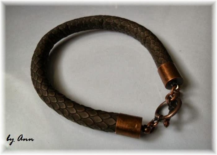 bransoletka brązowy rzemień szyty i miedź wężowa