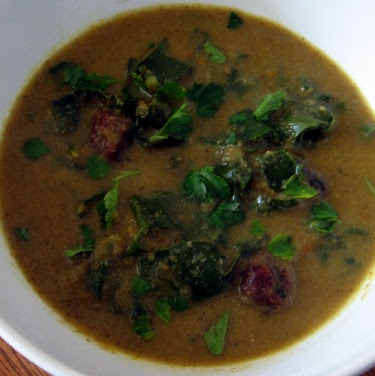broccoli meatball soup with beet greens