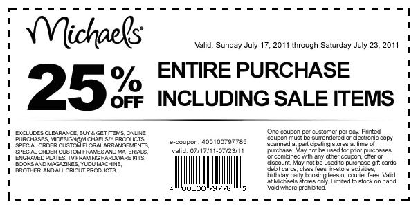 Michaels 30% Off Entire Purchase. March 7, by cardinal Leave a Comment. Michaels 30% Off Entire Purchase Coupon. Go here to see all of the Michaels coupons. Filed Under: HTSFF Site Updates Tagged With: coupons, how to shop for free, michaels. Leave a Reply Cancel reply.