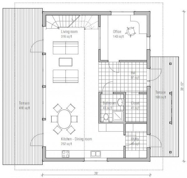 Baño Bajo Escalera Plano:Plano De Casas 2 Pisos Modernas