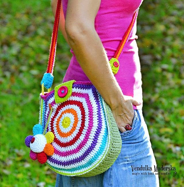 Crochet rainbow bag