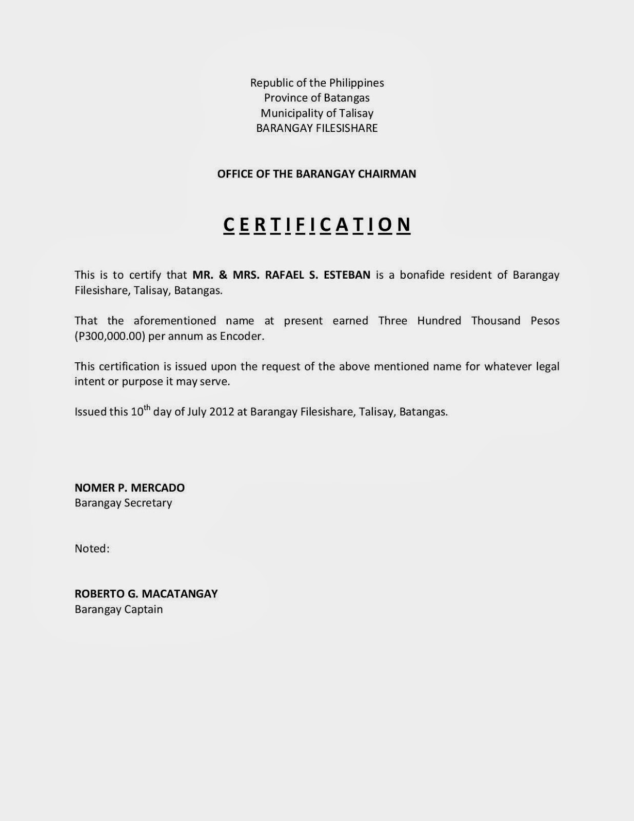 certification of income  sample