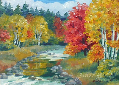 autumn landscape with birch trees