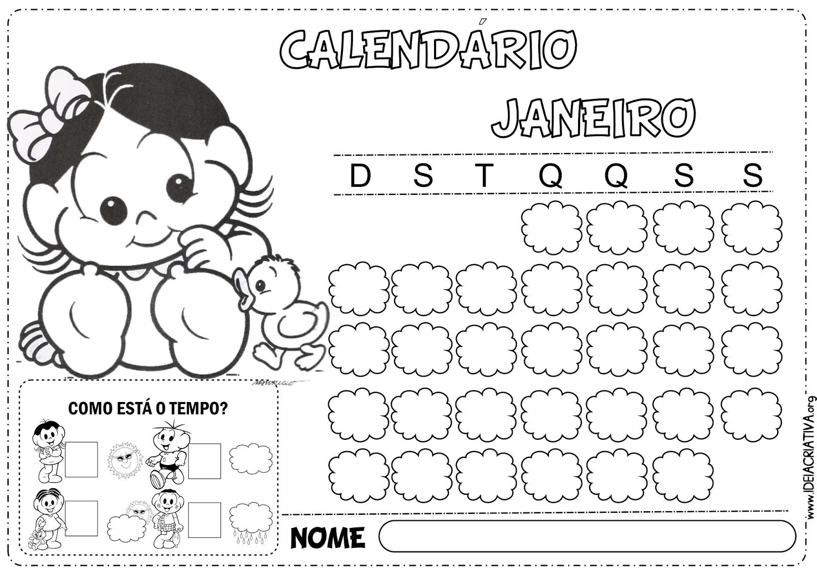Calendários Turma da Mônica Janeiro 2014 Paisagem