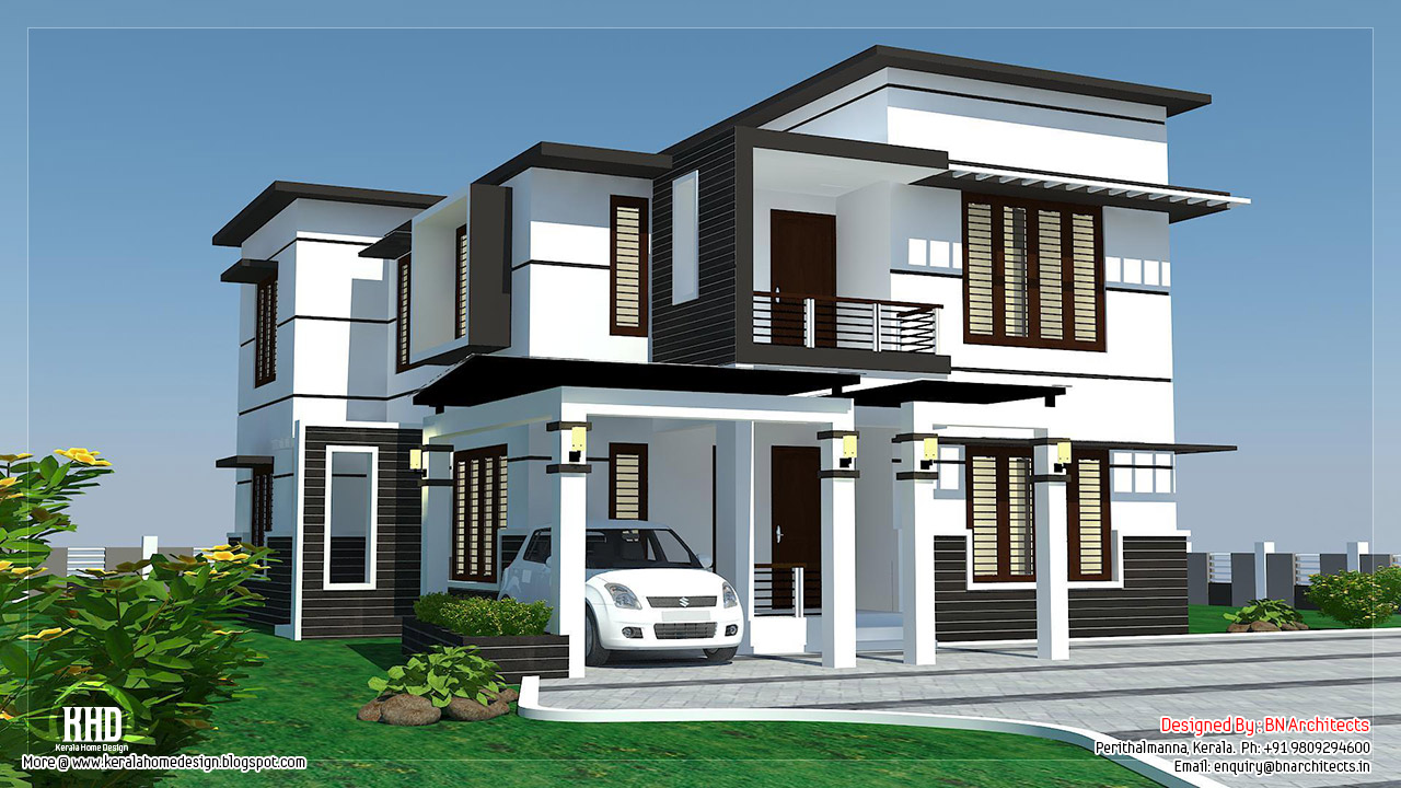 2500 4 bedroom modern home design kerala home for Black and white house exterior design