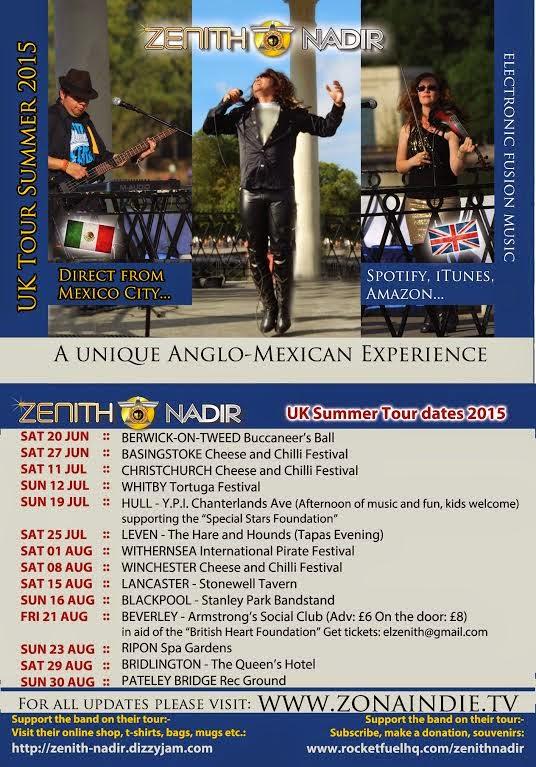 Zenith Nadir UK tour dates Summer 2015