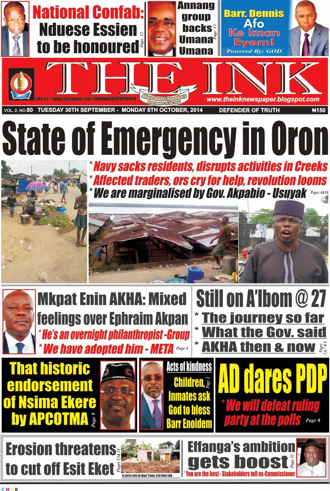Latest Edition of tTHE INK NEWSPAPER, Uyo, Akwa Ibom State